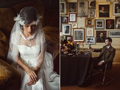 Bridal Inspiration by Westwood Design - set in a Gentleman's Club in Soho, these images explore the darkly glamorous aesthetic of the 1920s through to the 1940s.  Images by Bianco Photography.