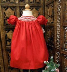 5687fdefdc934 Will'beth Newborn Baby Girl Smocked Red Christmas Bishop Dress Portraits Sz  0 NW | Dresses | Girls' Clothing (Newborn-5T)