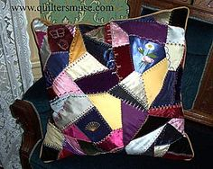 Crazy Quilt Pillow  ~ I think this would be a great place to start learning the crazy quilt method.