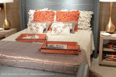 Sophisticated Charcoal Gray & Orange Bedroom Design from Global Views - Decorating Diva #Christmas #thanksgiving #Holiday #quote