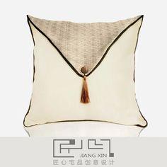 匠心宅品 新中式样板房/软装靠包抱枕 浅咖翻盖方枕(不含枕芯)¥199.00