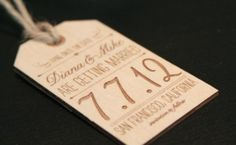 Oh So Beautiful Paper: Diana + Mike's Wood Engraved Save the Dates