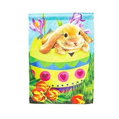 Easter Bunny Egg Decorative Garden Flag ** You can get more details by clicking on the image.  This link participates in Amazon Service LLC Associates Program, a program designed to let participant earn advertising fees by advertising and linking to Amazon.com.