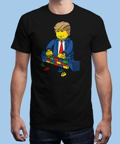 """""""Trump Build A Wall"""" is today's £8/€10/$12 tee for 24 hours only on www.Qwertee.com Pin this for a chance to win a FREE TEE this weekend. Follow us on pinterest.com/qwertee for a second! Thanks:)"""