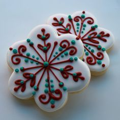 LOTS of holiday cookie decoration ideas on this blog  Her cookies     White  with green   red piping  simple  festive decorated Christmas cookies