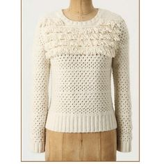 """Anthropologie alabaster tassels sweater DETAILS Snowy fringes fall from the angora-imbued shoulders of Far Away From Close's cropped, chunky knit pullover.   Pullover styling  Cotton, nylon, angora  Hand wash   Flat across bust is 16.5"""", 21.5""""L, 16"""" sleeve . Imported  Style No. 23067697. In euc , no signs of use. No pp,holds ,trades . Anthropologie Sweaters"""