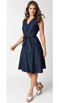 Retro Style Denim Sleeveless Button Up Flare Dress