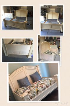 King headboard and footboard rehab to twin daybed. I found a daybed I wanted and it was $2500. I didn't want to pay that!  Rehabbed a consignment shop bed to make my dream day bed.