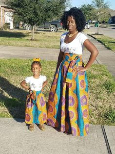 Sale Sale Sale African Maxi Skirts mommy and me skirts from kids to Adults Made with genuine fabric you will love. African Dresses For Kids, African Wear Dresses, African Attire, Mother Daughter Fashion, Style Africain, Mommy And Me Outfits, Printed Maxi Skirts, African Design, Tutu Outfits