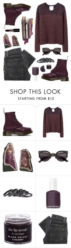 """Throwback Style: Dr. Martens"" by felytery ❤ liked on Polyvore featuring Dr. Martens, Stephan Schneider, Smashbox, CO, Pieces, Essie, Nudie Jeans Co., DrMartens, autumn and November"