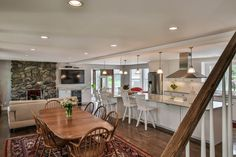Gorgeous open concept living, dining and kitchen remodel.