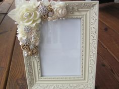 Picture Frame with Ivory and Beige Ribbon Rosettes by GrandNichols Dyi Picture Frames, Picture Frame Crafts, Shabby Chic Photo Frames, Romantic Shabby Chic, Shabby Chic Crafts, Vintage Crafts, Manualidades Shabby Chic, Marco Diy, Decoration Shabby