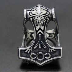 MEN'S Norse Thunder God Viking Thor's Hammer 316L Stainless Steel Biker Ring #Thor39sHammer