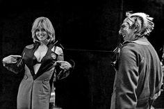 Sigourney Weaver and Alan Rickman having fun on the set of Galaxy Quest