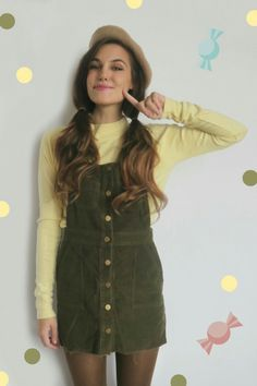 Marzia's Retro Fashion #MarziaBisognin #Marzia #cutiepiemarzia #retro #green #overalls #pewdiepie #tattoos #felix #kjellberg #kawaii #Bisognin #Beauty #YouTube #pretty #fashion #fall #autumn #summer #spring #photography