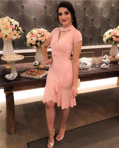Estilosa ✨ . . .… Hot Dress, Pink Dress, Cool Outfits, Fashion Outfits, Womens Fashion, Beautiful Frocks, Look Rose, Ladylike Style, Dress And Heels