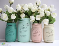 Dorm Decor - Home or Office Decor - Painted Mason Jar - Pencil Holder - Vase Blush mint jade cream by BeachBlues on Etsy https://www.etsy.com/listing/105555410/dorm-decor-home-or-office-decor-painted