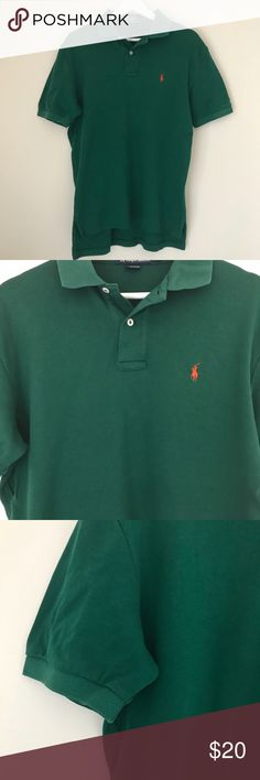 POLO RALPH LAUREN | GREEN BUTTON POLO DRESS SHIRT Good preowned condition Polo Ralph Lauren top. Green with orange polo logo on left chest. Bundle discounts & offers welcomed! Thanks for looking 😊 Polo by Ralph Lauren Shirts Polos