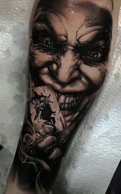The Joker Tattoo. Forarm Tattoos, Irezumi Tattoos, Skull Tattoos, Forearm Tattoo Men, Leg Tattoos, Body Art Tattoos, Joker Tattoos, Horror Tattoos, Gangster Tattoos