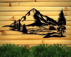 Outdoor Wall Art, Outdoor Signs, Outdoor Walls, Metal Wall Decor, Metal Wall Art, Wood Art, Mountain Art, Mountain Range, Geometric Mountain