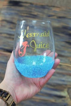 Mermaid juice,mermaid juice glass,mermaid juice cup,mermaid,cute wine glass,mermaid wine glass,stemless wine glass,glitter dipped,wine glass by TheTipsyBride on Etsy