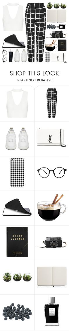 """Untitled #102"" by sipoczanna ❤ liked on Polyvore featuring Topshop, Golden Goose, Yves Saint Laurent, Luminarc, kikki.K, Shinola and Kilian"