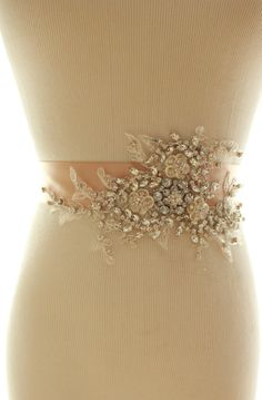 Bridal Crystal Pearl Sash Wedding Rhinestone by abigailgracebridal