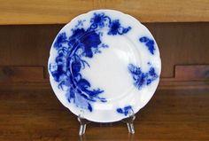"""Flow Blue Plate ~ W.H. Grindley & Co., Ltd. ~ England ~  """"Poppy"""" pattern ~ 1891-1914 ~ Dinner Plate ~ 10"""" diameter by JingleBeanFarm on Etsy"""