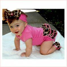 Lollipop Leopard Baby Ruffled Onesie Gift Set - Pink Baby Boutique