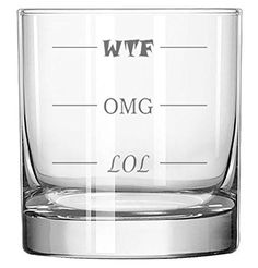 Lol-Omg-Wtf Funny Rocks Glass - Finally A Rocks Glass For Every Mood! 11 Oz Libbey Highball Glass - Humorous Gift Or Conversation Starter, 2015 Amazon Top Rated Bar, Cocktail & Wine Glasses #Kitchen