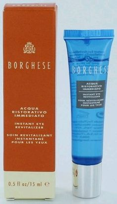 Borghese Acqua Ristorativo Instant Eye Revitalizer by Borghese. $27.43. New in Box. Borghese Acqua Ristorativo Instant Eye Revitalizer. **No U.S. Sale Tax** 0.5 oz / 15 ml. Rejuvenate Your EyesYour best eyes are only a blink away with Borghese Acqua Ristorativo Instant Eye Revitalizer. This powerful formula rolls on in an instant to moisturize, soothe and lift eyes on the go so they can appear smoother, brighter and younger-looking. Formulated with soothing All...