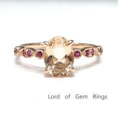 $328 Oval Morganite Engagement Ring Pave Ruby Wedding 14K Rose Gold 6x8mm Art Deco Antique