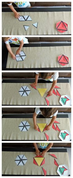 Triangulos Constructores (imprimible gratis) - Constructive Triangles (free printable)  #montessori Montessori Preschool, Early Math, Montessori Materials, Math For Kids, Kindergarten Math, Homeschool, Classroom Rules, Crafts, Maths
