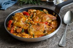 Chicken sausage with white beans - Kolbászos csirke fehér babbal Recept képpel - Mindmegette. Meat Recipes, Cooking Recipes, Mexican Chicken Casserole, Chicken Recepies, Hungarian Recipes, Warm Food, Cold Meals, Slow Food, Food Humor