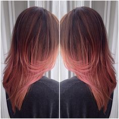 """Custom coral pink balayage ombré on this cutie! """