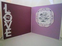 The inside of the wedding card - Love cut using my Silhouette Cameo