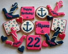 47 Ideas for birthday gifts for girls decorated sugar cookies Birthday Cake For Cat, 25th Birthday, Birthday Gifts For Girls, Birthday Parties, Birthday Nails, Birthday Ideas, Royal Icing Cookies, Sugar Cookies, Anchor Birthday