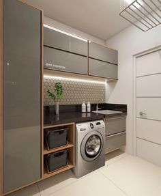functional and stylish laundry room design ideas to inspire 41 Modern Laundry Rooms, Laundry Room Layouts, Laundry Room Cabinets, Laundry Room Organization, Storage Organization, Kitchen Interior, Interior Design Living Room, Interior Door, Küchen Design