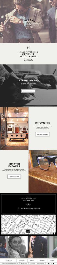 Voskins | High end Eyewear responsive website by MissBruce Lee, via Behance