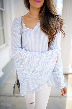 bell sleeve top , similar HERE & HERE // white pants // choker Sole Society sandals c/o // Sole Society Rowen handbag...