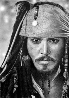 Hyper-Realistic Pencil Drawings by Franco Clun - Johnny Depp as Capt Sparrow