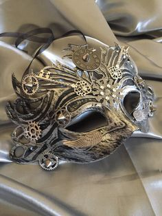 Buy Now Mask, Masquerade Mask, Steampunk, Halloween Mask, Mardi Gras Mask, Fantasy Mask, Watch Gears, Steampunk Costume, Michanical, Cosplay, Unisex by Luc
