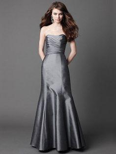 Trumpet/Mermaid Strapless Taffeta Floor-length Light Slate Gray Ruffles Bridesmaid Dresses at Millybridal.com