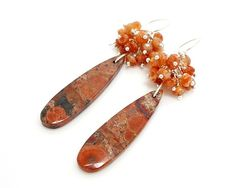 Birds Eye Jasper Gemstone Wire Wrapped Cluster Earrings - product images  of