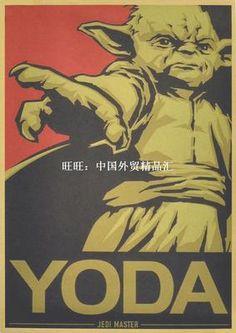 Wall Sticker Vintage Classic Movie Star Wars Yoda Poster Hom-淘宝网