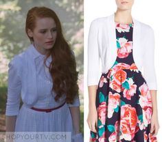 "Riverdale: Season 1 Episode 3 Cheryl's White Crop Cardigan | Shop Your TV Cheryl Blossom (Madelaine Petsch) wears this white cropped cardigan in this episode of Riverdale, ""Body Double"".  It is the Eliza J Open Front Bolero."