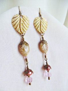 I am offering a 20% DISCOUNT ON ALL DESIGNS! Dec.15-17, 2017! #elegancebydorianne #victorianjewelry #victorianstyle #victorianearrings #romanticjewelry #etsyjewelry #etsyseller #etsyshopowner #victorianfashion #christmasgiftforher   Romantic Victorian Drop, Dangle Earrings in Pink, Mauve and Gold Hues! Created with wonderful gold tone leaves, re-purposed from older-vintage