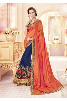 Orange & Blue Paper Silk Half & Half Saree  - 19982