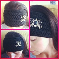 Black crochet headband I made for those nice Autumn walks.