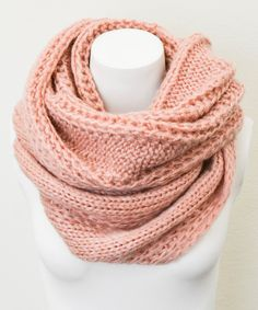 Rose Cable Knit Infinity Scarf
